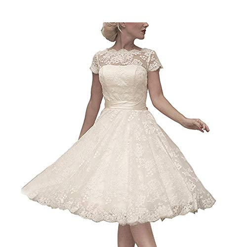 Abaowedding Women's Floral Lace Knee-Length Short Wedding Dress Bridal Gown Size 14 Ivory