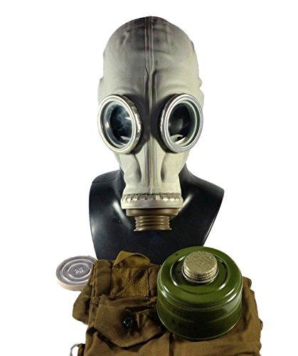 Epic Militaria Original-Gasmaske GP5, sowjetisch / russisches Design mit Filter, Tasche und Anti-Beschlag-Linsen, Grau oder Schwarz Gr. S, grau