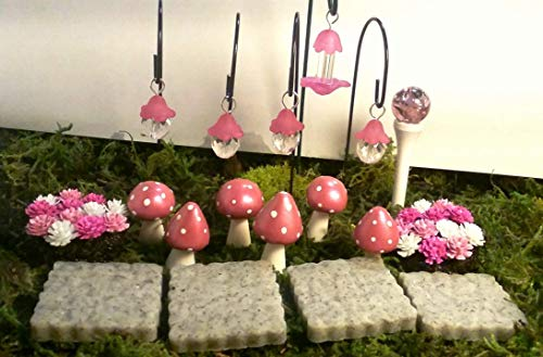 Fairy Garden 18 Piece Set. Miniature Pink Flowers, Fairy Lights, Mushrooms.