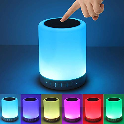 D2Q LED Touch Lamp Portable Bluetooth Speaker, Wireless HiFi Speaker Light, USB Rechargeable Portable with TWS