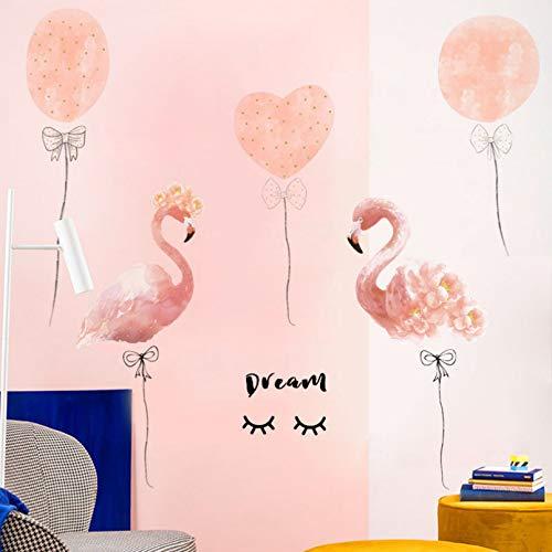 Pegatinas de pared con globo de flamenco de sueño romántico para habitación de niña, pegatinas de pared ecológicas, pegatinas de vinilo, murales de bricolaje en la pared