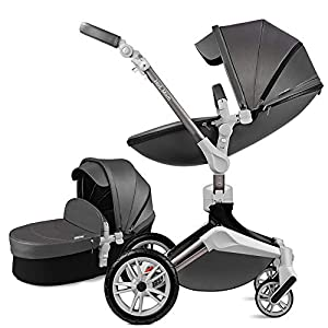 Hot Mom Pushchair 360 Rotation Function Baby Carriage Pu Leather Folding Portable Shockproof Travel System Pushchair Pram 2020(Dark Grey)   1