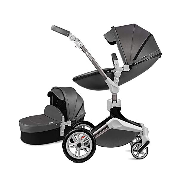 Hot Mom Pushchair 360 Rotation Function Baby Carriage Pu Leather Folding Portable Shockproof Travel System Pushchair Pram 2020(Dark Grey) HOT MOM 【360°ROTATION FUNCTION】 - The robust stroller frame can rotate 360°so that the pushchair attachments can be adjusted faster in both directions with one click.you can enjoy the mobility, flexibility and get the chance to discover the world with your baby 【INCREASE PU RUBBER WHEELS】 - The rear wheels use high-quality large tires, explosion-proof tires, puncture-proof, no inflation, front-wheel Pu rubber, non-slip, wear-resistant, with good shock absorption 【WATERPROOF PU LEATHER】 - Completely designed with Somatology Safety standard, 100% PU leather material of Egg Seat and Bassinet,High-grade waterproof,this perfect match feel more luxurious and fashionable and easy to clean.it can be easily cleaned with a wet wipe 1