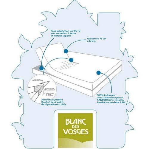 Blanc des Vosges Molleton 220gr/m² Alèze Housse avec 4 Têtes, Coton, Blanc, 180x200 cm