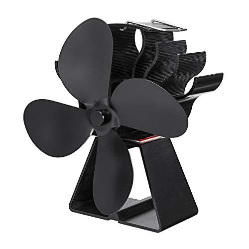 HXIANG 4 Blades Warmte Aangedreven Fornuis Ventilator Milieuvriendelijk Efficiëntie Hout Logboek Open haard Ventilator Onderdelen Warmteverdeling Brandstofbesparing Zwart
