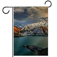 ガーデンヤードフラッグ両面 /12x18in/ ポリエステルウェルカムハウス旗バナー,山の湖の風景