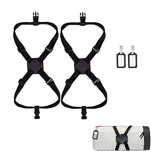 luggage straps, 2 Pack high elastic luggage bungee suitcase strap adjustable belt, heavy duty travel luggage belt easy bag bungee, 2 Pack suitcase tags labels.(Black)