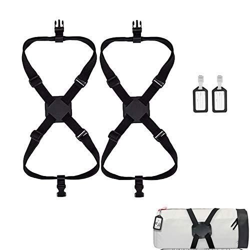 Luggage Straps, 2 Pack high Elastic Luggage Bungee Suitcase Adjustable Belt, Heavy Duty Travel Luggage Belt, 2 Pack Suitcase Tags Labels.(Black)