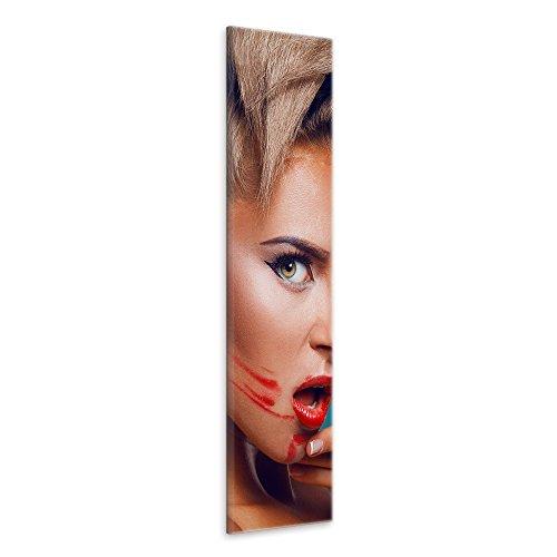 malango® - Leinwandbild - Verschmierter Lippenstift Leinwanddesign in Premium Qualität 1-Teiler Panorama im Hochformat spezielle Latex-Tinte auf Premium Leinwandstoff 30 x 90 cm
