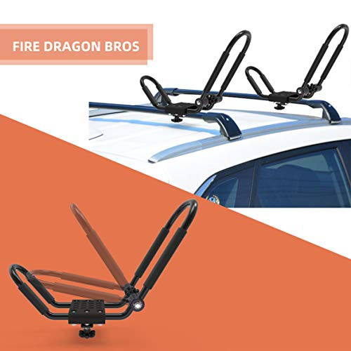 FDB Upgraded Double Universal Folding Adjustable J Cross Bar 1 Pairs = 2 PCS Universal Kayak Canoe Top Mount Carrier Roof Rack Boat SUV Truck Van Car with 2 pcs Tie Down Straps