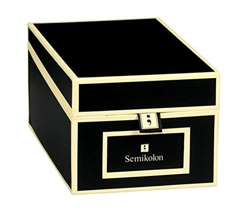 Semikolon (352642) Visitenkarten-Box mit Registern in black (schwarz) - Bussiness-Card-Box - Alternative zu Visitenkartenmappe, Karteikasten
