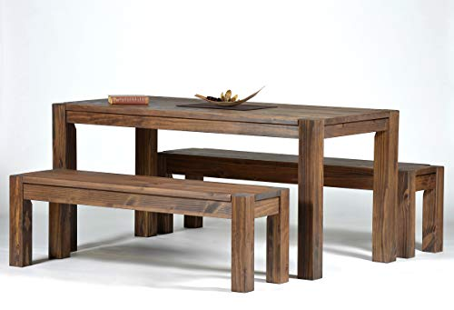 Sitzgruppe Rio Bonito Farbton Cognac braun mit Esstisch 160x80cm + 2x Sitzbank 140x38cm Pinie Massivholz geölt und gewachst Tisch und Bank, Optional: passende Bankauflagen und Ansteckplatten