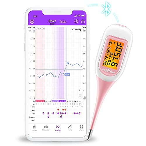 Easy@Home Smart Basal Thermometer, Large Screen and Backlit, FSA Eligible, Period Tracker with Premom(iOS & Android) – Auto BBT Sync, Charting, Coverline & Accurate Fertility Prediction #EBT-300