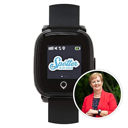 Spotter montre gps noir pour personnes et les seniors, design unique, petite taille avec application, vue en ligne des lieux, fonction d'appel, bouton sos