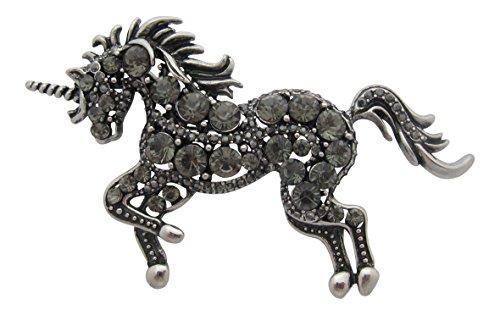 Broche Boutique Beautiful grafito gris cristal y Unicorn broche chapado en plata en caja de regalo