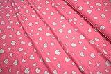 mollipolli-Stoffe Jersey Silber Glitzer Herzen auf pink by