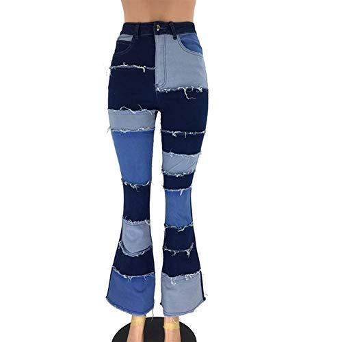 XinXinFeiEr Estiramiento El Otoño Y El Parche De La Moda De Invierno De Cintura Alta Pantalones De Mezclilla Ajustados Cuerno De La Cadera Casual (Color : Dark Blue, Size : XXXL)