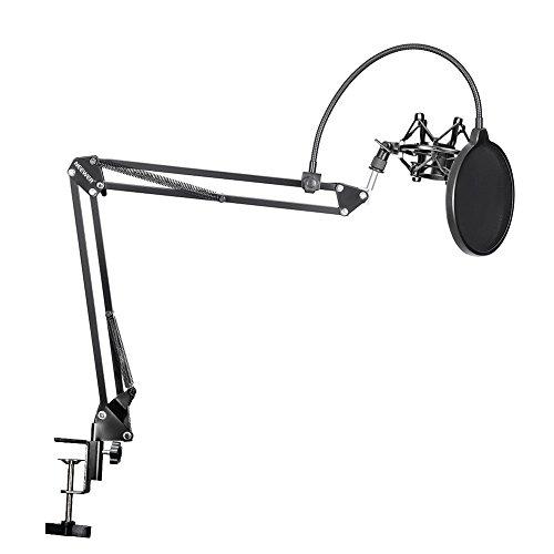 Neewer® 35 NB Microfono Sospensione Braccio a Forbici Supporto con Microfono Morsetto di Supporto da Tavolo & NW(B 3) Filtro Antipop Parabezza e Metallo Microfono Shock Kit di Montaggio