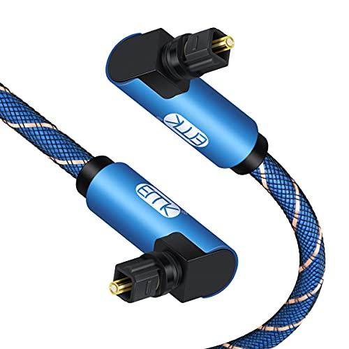 EMK Dual 90 Grad Rechtwinkliges Optisches Audiokabel Toslink-Kabel Nylon Geflochtenes Digitales Audio-Glasfaserkabel für SoundBar, TV, DVD, Lautsprecher, Blau (2 m)