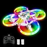 tech rc Drone para Niños, Sensor de Gravedad, Drone con Luces de Colores,Función de Despegue / Aterrizaje con Un Botón, Modo sin Cabeza,3D Flip, Buen Regalo para Navidad y Reyes