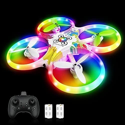 Drone per Bambini RC Drone LED a Colori con Sensore a Infrarossi Azionato a Mano,Drone con Due Batterie,Un Pulsante di Decollo  Atterraggio ,modalità Senza Testa 3D Flip ,Ideale Regalo per Bambini