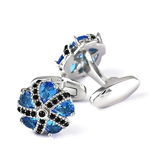 Aienid Hemd Manschettenknöpfe Herren Blaues Silber Wassertropfen Blume Kristall Zirkonia Blau Schwarz Manschettenknöpfe Für Herren