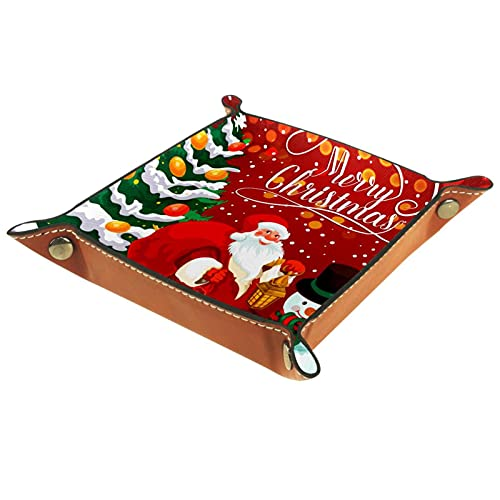 Caja de almacenamiento pequeña, bandeja de valet para hombre,Tarjeta de felicitación de vacaciones de Navidad de la celebración del Año Nuevo ,Organizador de cuero para llaves de caja de monedas