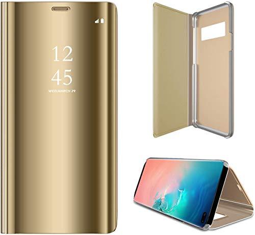 SevenPanda Samsung S20+ Plus Hülle, Smart Clear Sichtfenster Galvanisierauflage PC Spiegel Flip Folio Tasche Schutzhülle für Samsung Galaxy S20 Plus 5G 2020 mit Kickstand Handy Tasche - Gold