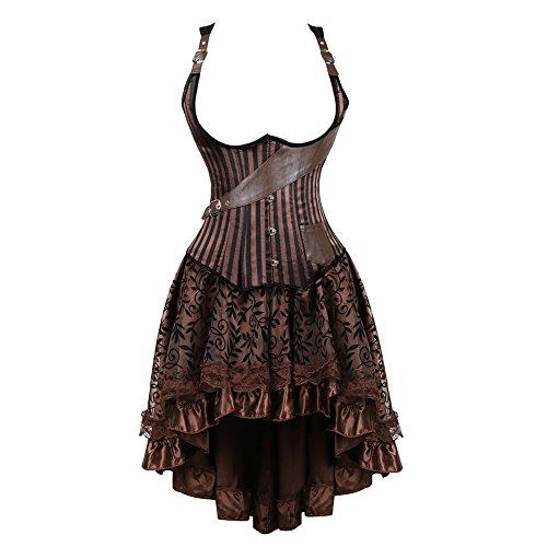 frawirshau Women's Steampunk Costume Corset Dress Halloween Costumes Steam Punk Gothic Underbust Corset Skirt Set Brown 6X