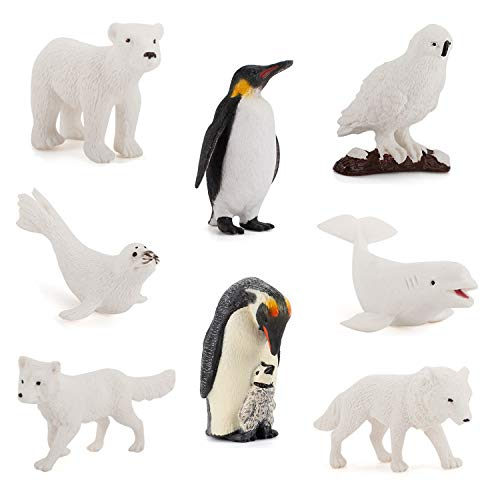 8Pcs Arctic Animals Figurines Set  willway Realistic Plastic Ocean Animals White Whale Seal Wolf Fox Polar Bear Emperor Penguin Decorations Figures Toy for Kids Adults