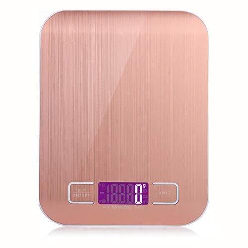 AbesterBáscula de cocina digital, bandeja de vidrio con función y función de pelado, báscula electrónica profesional de acero inoxidable de alta precisión para el hogar y la cocina-rosado_5 kg