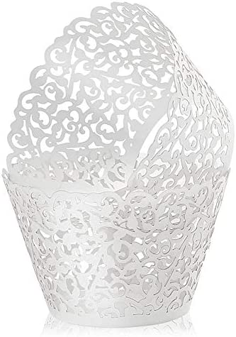 LotFancy 200pc Cupcake Wrappers Lace Cupcake Liners Filigree Vine Design Wraps Artistic Laser product image