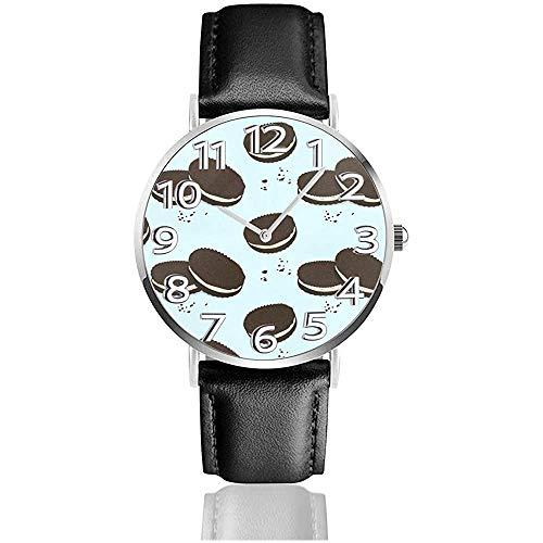 Schokoladen-Sandwich-Kekse Lederuhr Mode-Armbanduhren Quarzuhr tragen Uhren Geschenk