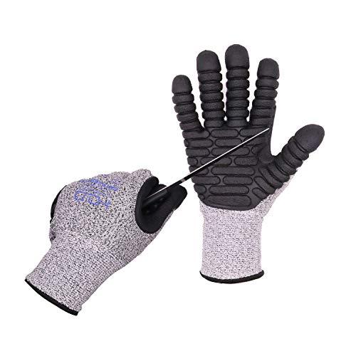 Anti Vibration Gloves, Cut Resistance Impact Gloves Men Mechanic Work Gloves (Large, Gray)