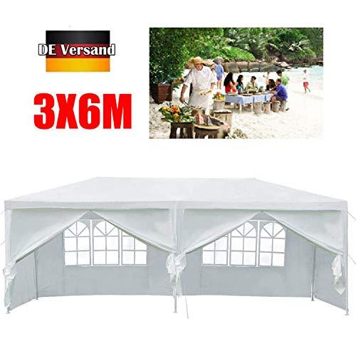 Huini 3x6m Pavillon im Freien Garten Zelt mit 6 abnehmbare Seitenwand für Party Hochzeit BBQ wasserdichte Markise Patio Pavillon - Weiß