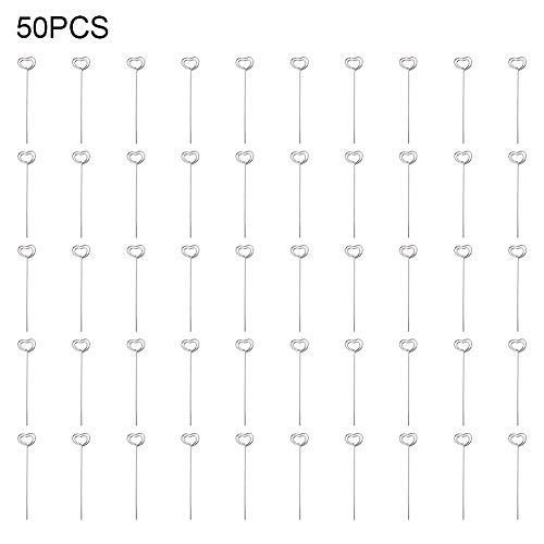 A forma di stella 50 pezzi Place Card Holder Memo Holder Clip Argento Fai da te Metallo Cavi rotondi in metallo Foto Picture Paper Note Display Clip Holder Nota Clamp Clay Cake Accessori