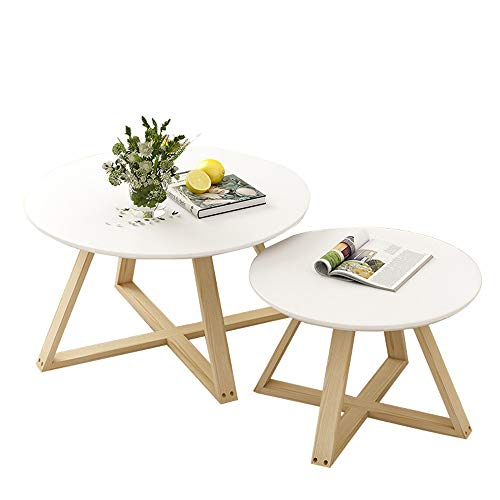 Canness Modern Side Table Set of 2 Coffee Table Modern Minimalist Side Table for Living Room Balcony Wood Nesting Round End Table for Living Room Bedroom (Color : White, Size : M)