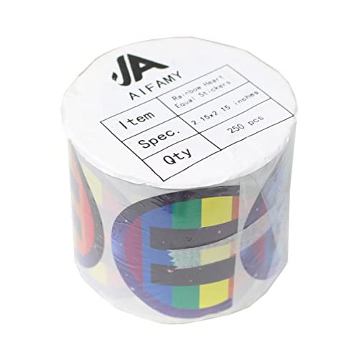 Love Pride Stickers Heart Shaped Roll Tape 250 Stickers Gay Pride Support LGBT (Equality + Pride) |
