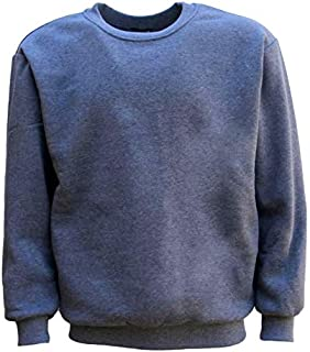 Zmart New Adult Unisex Plain Pullover Fleece Jumper Mens Long Sleeve Crew Neck Sweater