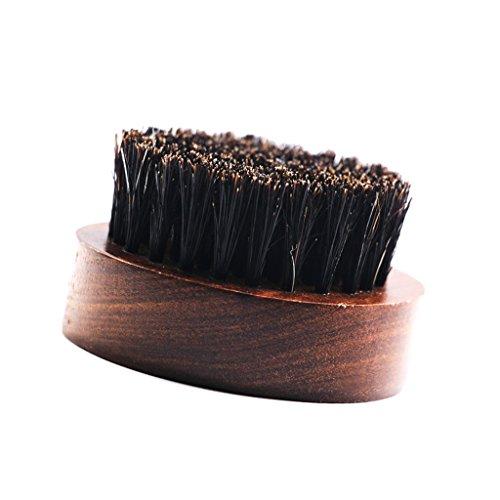 chiwanji Hommes Moustache Brosse Poignée En Bois Barbe Shaper Outil De Modèle Format De Poche Cadeaux - Rond
