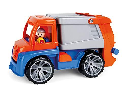 Lena 4416 Truxx Müllwagen, Müllfahrzeug ca. 29 cm, robuster Müll LKW, Müllauto mit Funktion, 1 Mülltonne und vollbeweglicher Spielfigur, für Kinder ab 2 Jahre, Spielfahrzeug in orange/blau