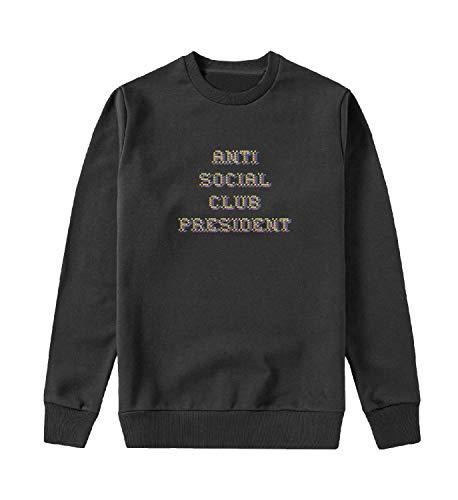MYMERCHANDISE Anti Social Club President Felpa con Cappuccio Crewneck Maglione Sweater Sweatshirt Mens SM Black Crewneck