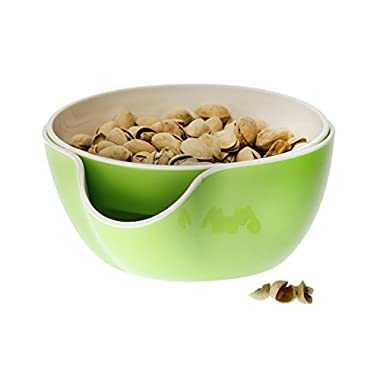 Wowly Pistachio Bowl - Double Dish Nut Bowl with Pistachios Shell Storage - Green