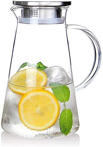 HJYSQX Hervidor 2.0 litros Jarra de Vidrio de 68 onzas con Tapa Jarra de té Helado Jarra de Agua Agua fría y Caliente Té Helado Vino Café Leche y Jugo Jarra de Bebida para el té