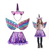3 piezas Disfraz de Unicornio para Niña JOOPOM Vestido de Unicornio para Niña Alas de Angel Diademas de Unicornio Artículos de Cumpleaños Cosplay Carnaval (Morado)