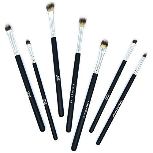 TROP Ensemble de 7 pinceaux de maquillage pour appliquer le fard à paupières avec des soies de poils végétaliens extra doux - Shader angulaire/Brosse