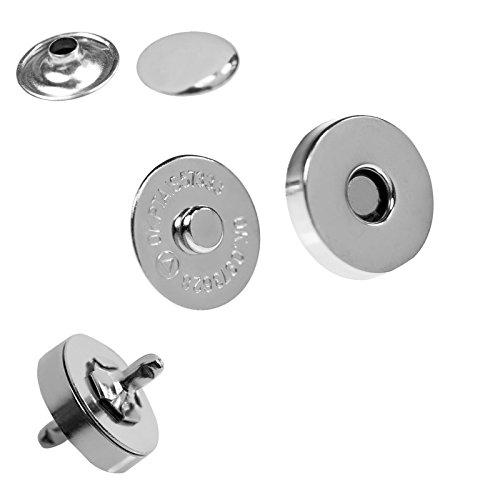 maDDma 10 Magnet-Knöpfe Magnet-Verschlüsse Taschenverschluss Nähen Basteln Kleidung Tasche Alben, Farbe:Silber, Größe:18mm