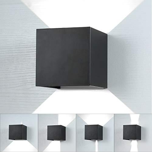 Lightess 10W LED Wandleuchte Innen Aussen Schwarz 120° mit einstellbaren Abstrahlwinkel Design Wandlampe Modern Up Dwon Licht IP65 Wasserdicht aus Aluminium Kaltweiß