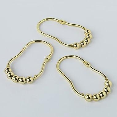 DS BATH Peanut Glide Shower Curtain Hooks,Bathroom Curtain Rings,Roller Rings for Shower curtain,Set of 12-Gold