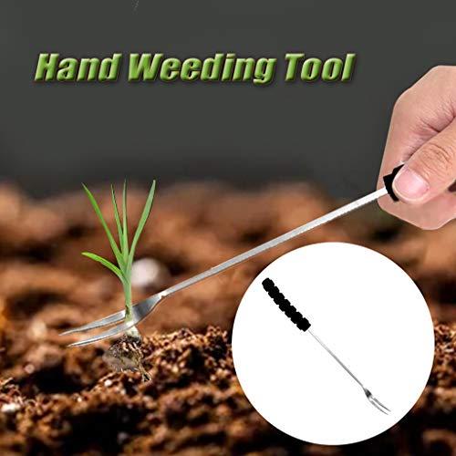VWsiouev - Herramienta de eliminación de malas hierbas de jardín de acero inoxidable, herramienta de deshierba de mano, herramienta de deshierba de mano con mango largo